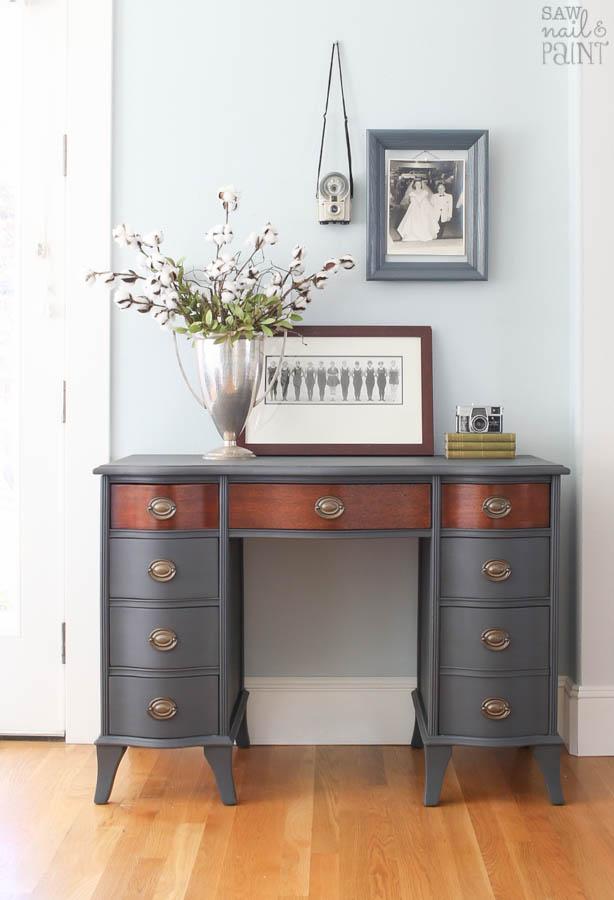 Vintage Secretary Desk >> Vintage Desk Makeover with Fusion Mineral Paint - Saw Nail ...