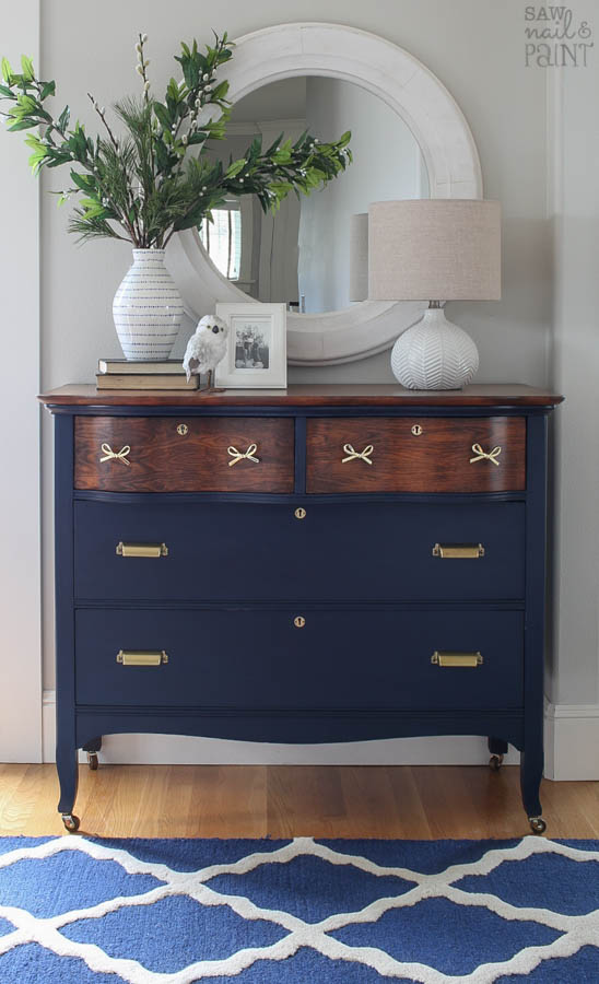 Dresser Makeover In Navy And Brass Saw Nail And Paint