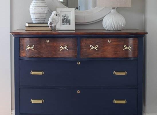 Dresser Makeover in Navy and Brass