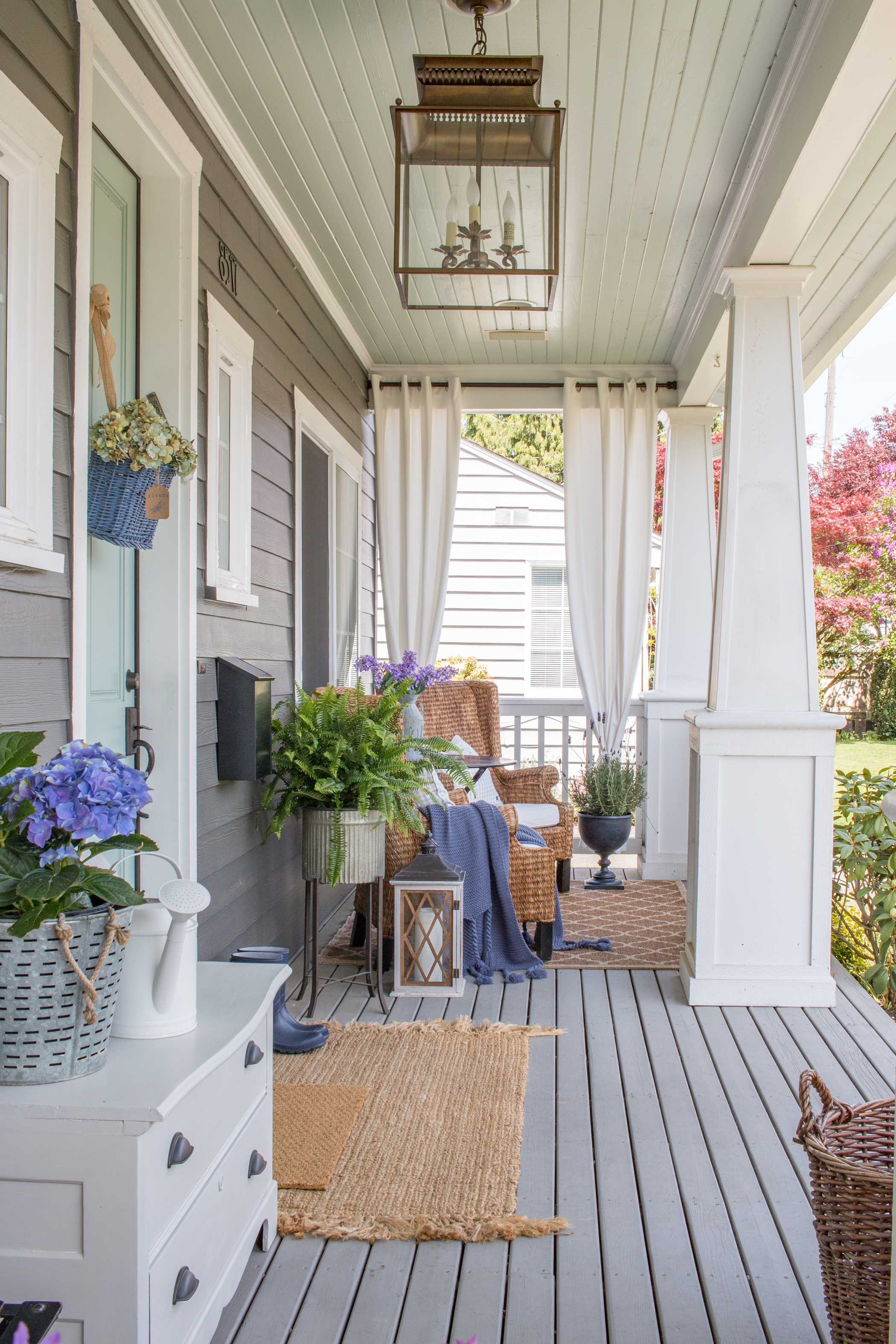 Front Porch With Pottery Barn Bolton Lantern 3 Saw Nail And Paint