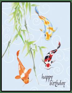 CN 20 - koi trio bamboo 'birthday''