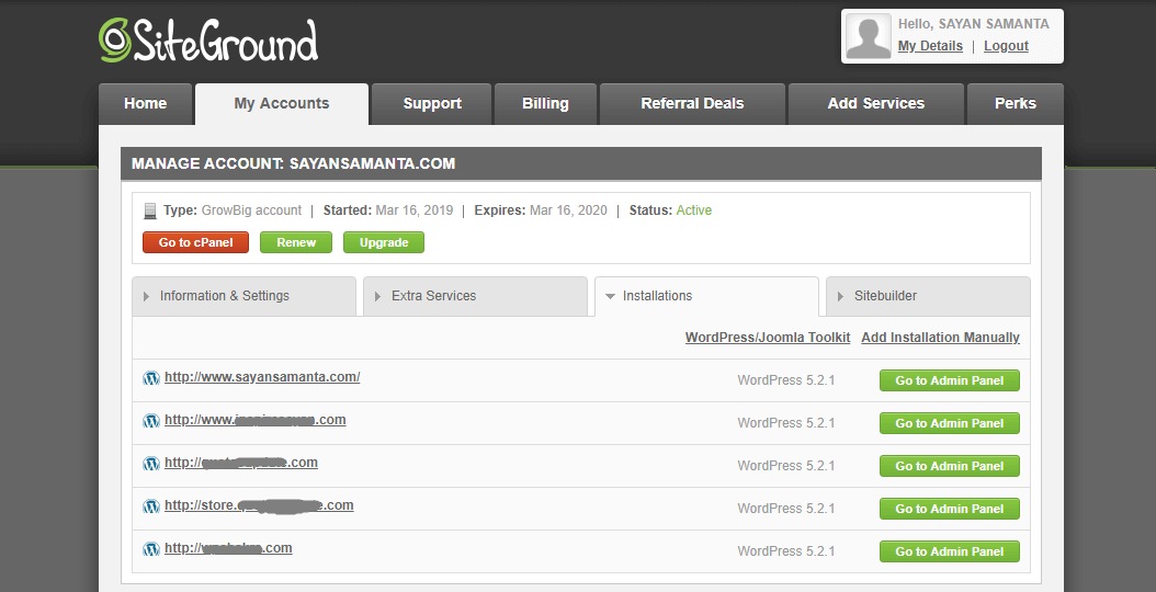 Siteground WordPress Hosting Control Panel