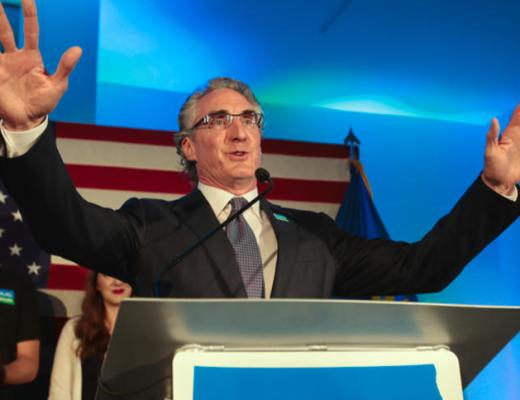 North Dakota governor candidate Doug Burgum addresses supporters after winning the Republican vote in the primary election Tuesday, June 14, 2016, at Ecce Gallery in downtown Fargo. Dave Wallis / The Forum