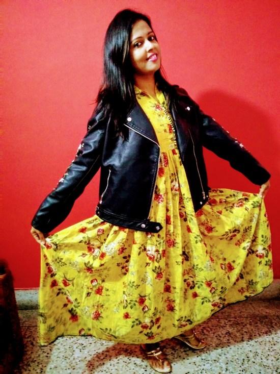 jacket with maxi dress - sayeridiary