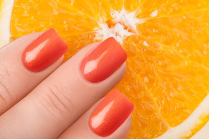 مانكير برتقالي نيون سادة