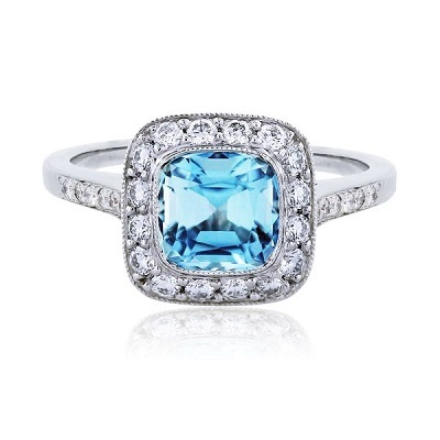 خاتم الماس مرصع بحجر الزبرجد الأزرق من تيفاتي ىند كو Tiffany&Co