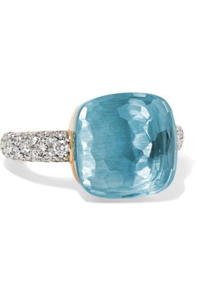 خاتم من الماس وحجر التوباز الأزرق من بوميلاتو Pomellato