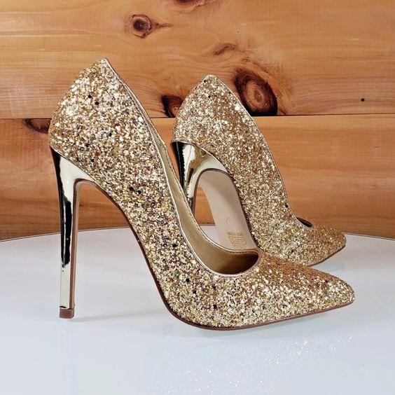 حذاء عروس باللون البرونزي