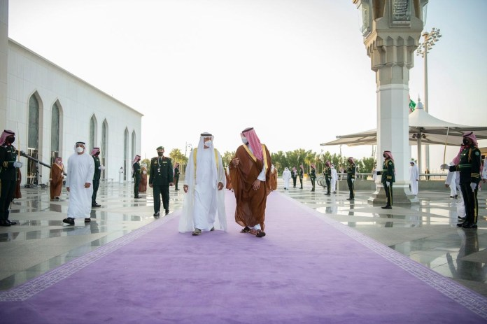 During Prince Mohammed bin Salman's reception of Sheikh Mohammed bin Zayed on the purple carpet
