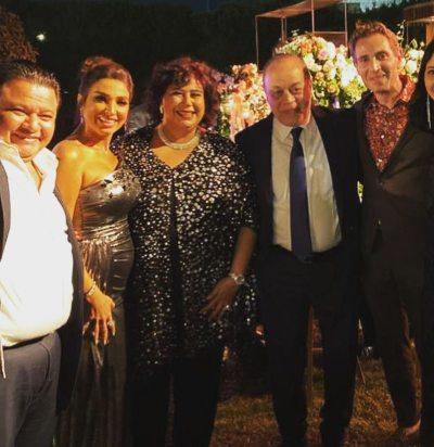 روجينا وزوجها أشرف زكي  والوزيرة إيناس عبد الدايم والحضور