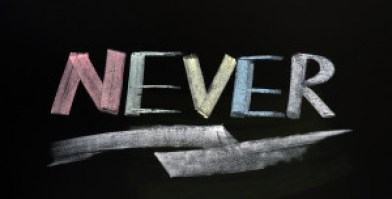Never - word written in colorful chalk