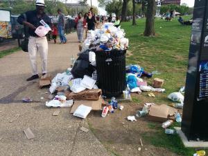Trash left behind after Global Citizen 2015 Earth Day Concert.