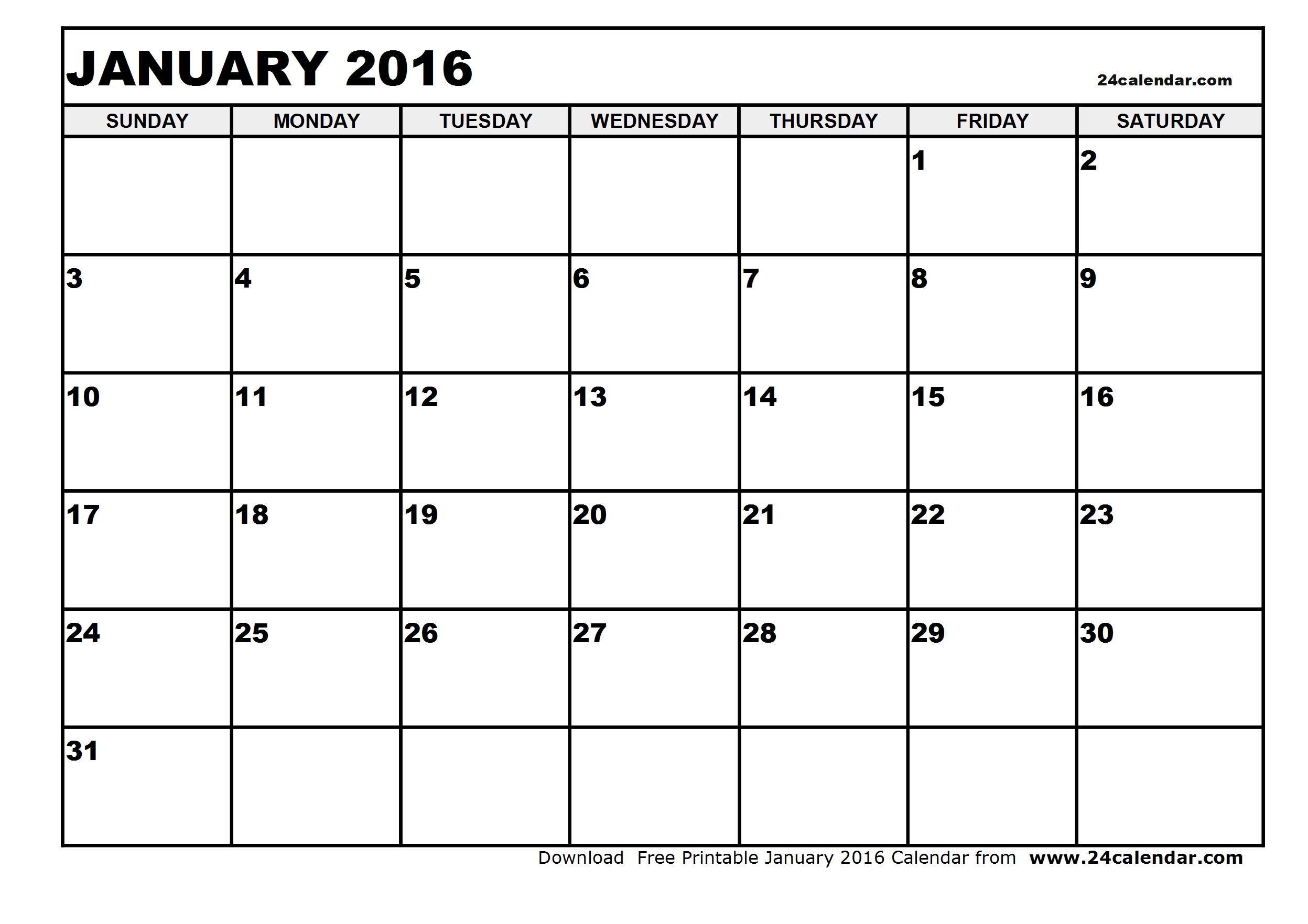 January Calendar Printable 11