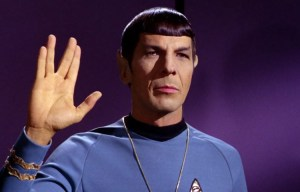 Mr Spoke, a Vulcan, uses his iconic gesture of good will