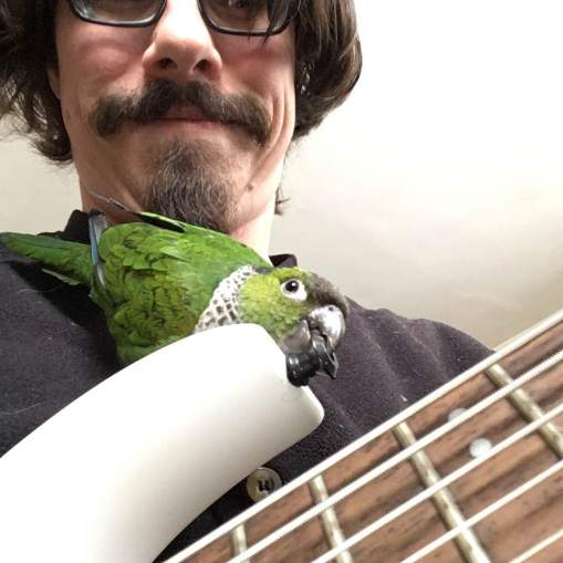 Deaf musician Justin playing his guitar with a parrot on his chest