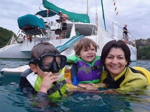 snorkeling family