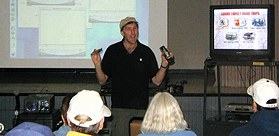 Harold Adams shows how to make your own digital videos with iMovie and iDVD software. (Photo: Brian Carlin)