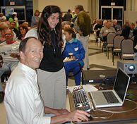 Tom Tuttle and Sandy Novak get ready before the presentation.  (Photo: Robert Winokur)