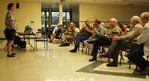 Ken Jurgensen leads the Q&A at the May 1st meeting. (Photo: Brian Carlin)