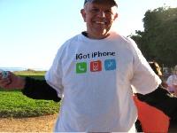 Mike got his iPhone! (Photo Kathy Gleason aka KG)