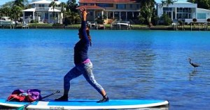 yoga on a paddle board