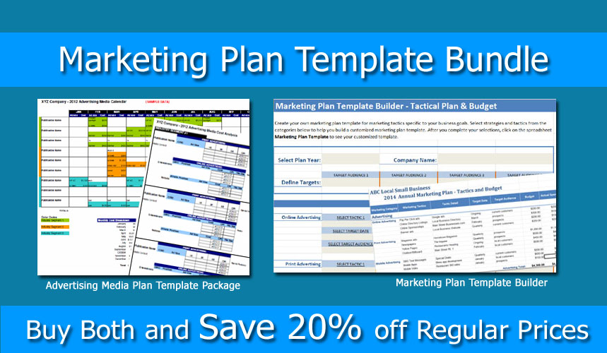 Marketing plan bundle marketing template builder and advertising marketing plan bundle marketing template builder and advertising media plan small business marketing tools flashek Image collections