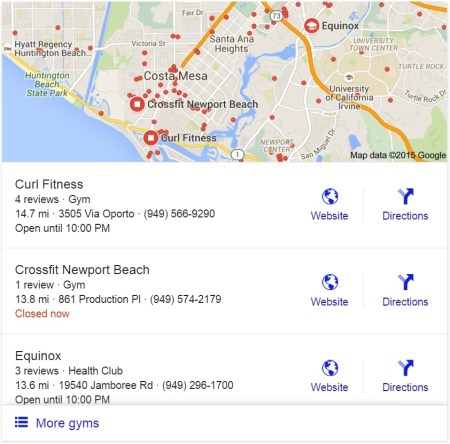 Google snack pack example