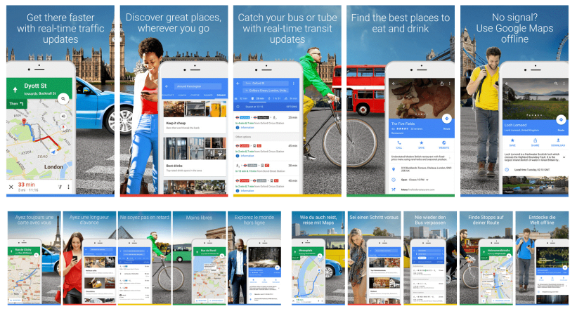 google maps localized screenshots
