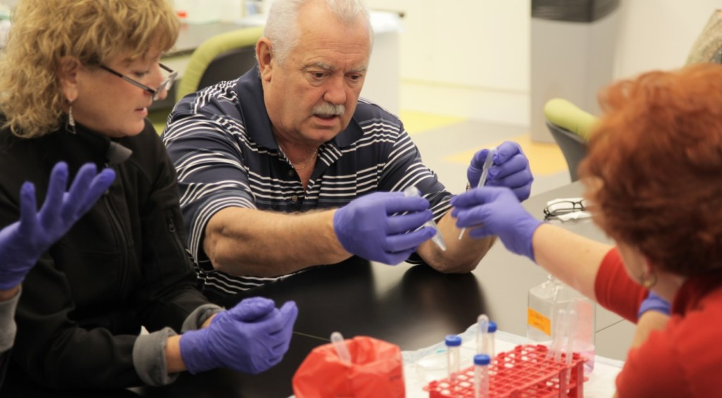 Raymond Bisson tries his hand at working with cells