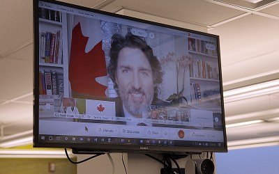 Justin Trudeau Delights Youth BIOlab team at St. Boniface Hospital Research with a Virtual Visit