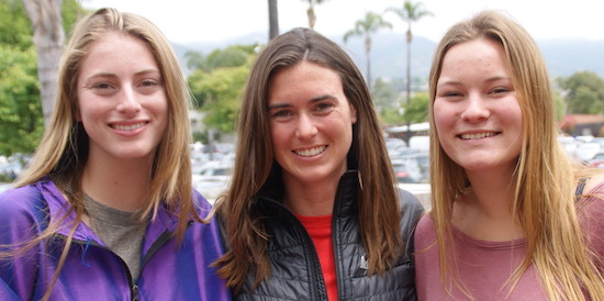 San Marcos girls lacrosse coach Katelyn Standefer is joined by players Evie Mayner, left, and Hayden Shinn.