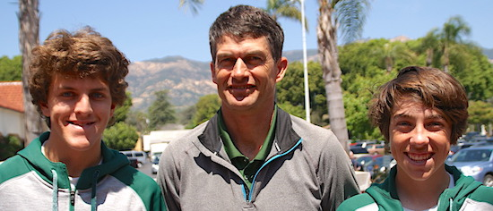 Santa Barbara High tennis coach Greg Tebbe is joined by players Noah Ostovany, left, and Taylor Kleine.