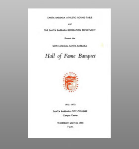 Santa Barbara Athletic Round Table 1973 Hall of Fame Banquet Cover