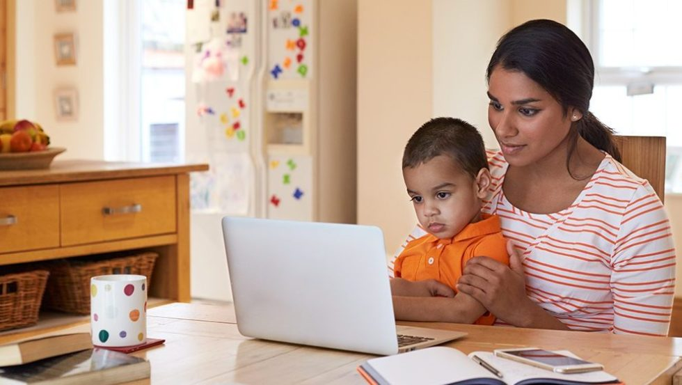 Mother and child using our easy to order website to view and purchase school photographs
