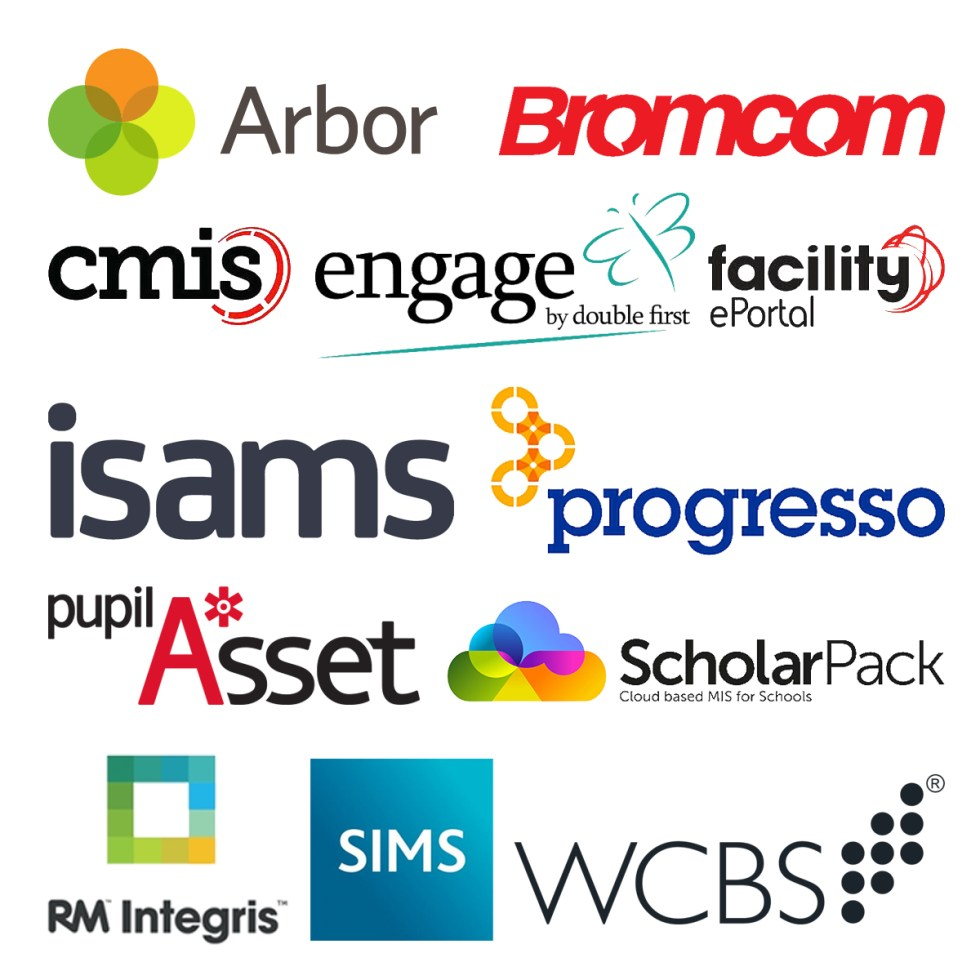 School MIS software packages: arbor, bromcom, cmis, engage, facility, isams, progresso, pupil asset, rm integris, scholar pack, sims, wcbs.