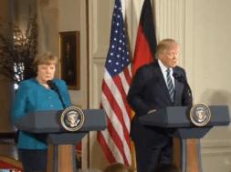 Thổng thống Donald Trump và thủ tướng Angela Merkel tổ chức họp báo chung