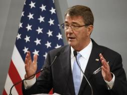 US Defense Secretary Ash Carter attends a news conference at the French Defence Ministry in Paris