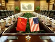 Flags of U.S. and China are placed for a meeting between Secretary of Agriculture Sonny Perdue and China's Minister of Agriculture Han Changfu in Beijing