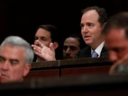 Rep. Adam Schiff (D-CA) asks a question as former U.S. Secretary of Homeland Security Jeh Johnson testifies about Russian meddling in the 2016 election before the House Intelligence Committee on Capitol Hill in Washington