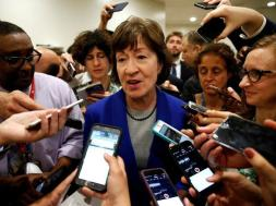 Senator Susan Collins (R-ME) speaks to reporters after Senate Republicans unveiled their version of legislation that would replace Obamacare in Washington