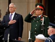 U.S. Defense Secretary Mattis hosts an honor cordon for Vietnamese Defense Minister Gen. Ngo Xuan Lich at the Pentagon in Arlington
