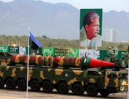 The Shaheen-III missile is displayed during the Pakistan Day parade in Islamabad,