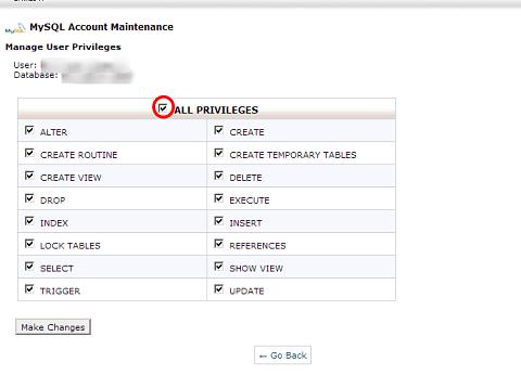 cPanel MySQL Create Inside