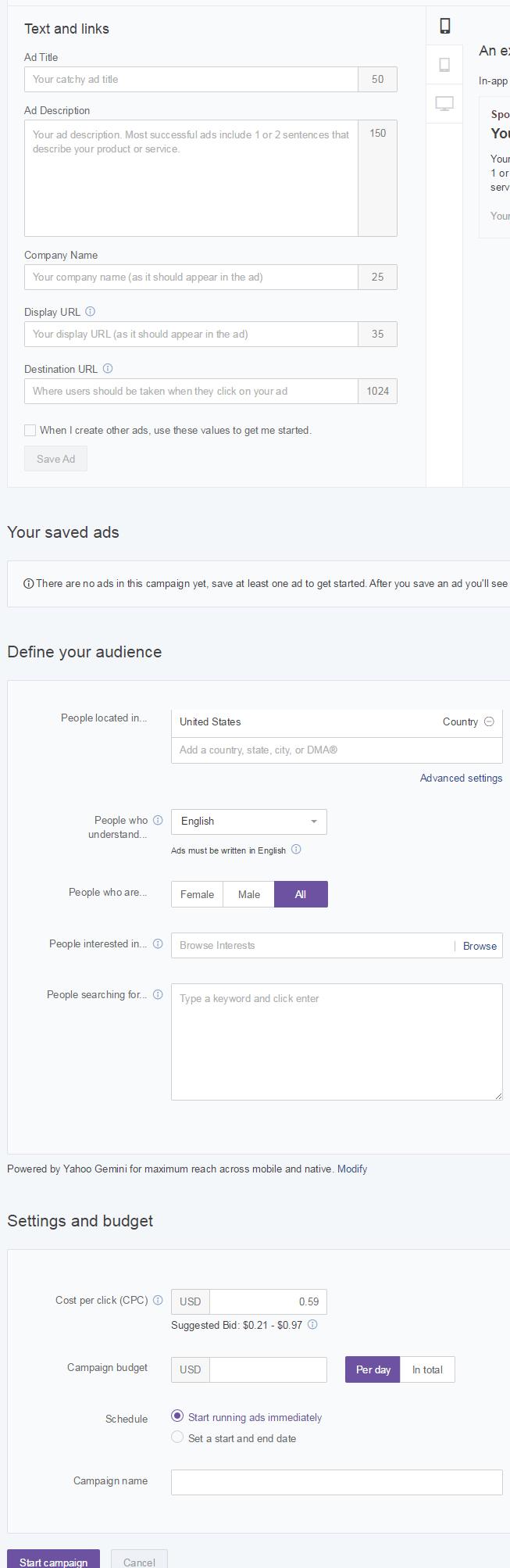 Yahoo Gemini Setup