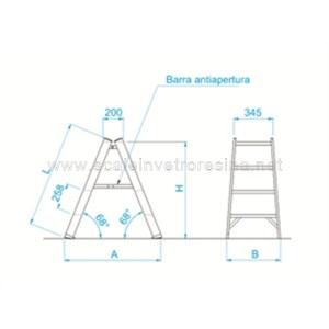 Sgabello in vetroresina a doppia salita misure