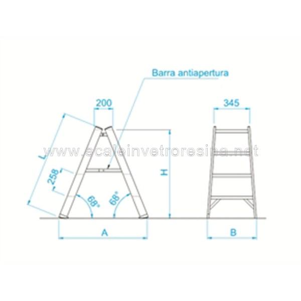 Sgabello in vetroresina doppia salita 2 + 2 gradini