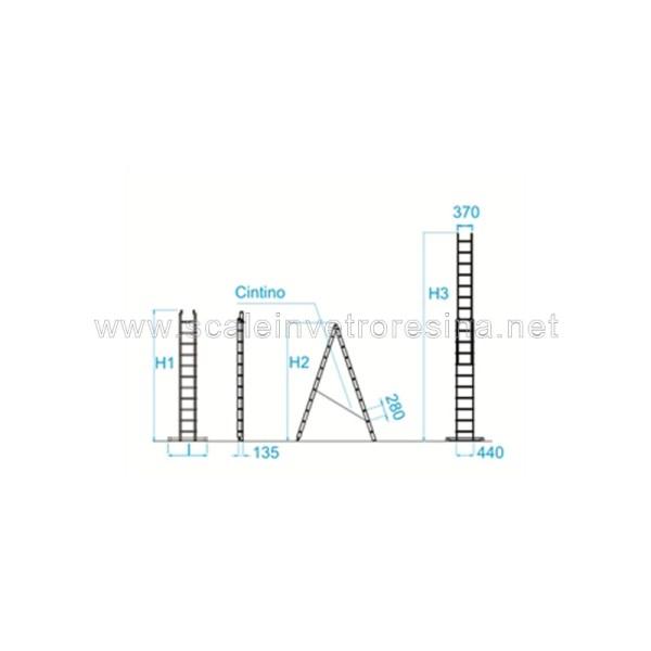 Scala in vetroresina multiuso 2 rampe 10 gradini