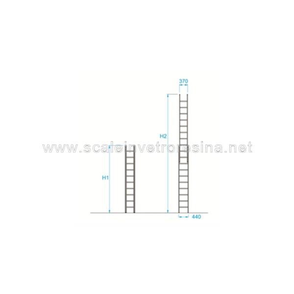 Scala in vetroresina a sfilo 2 rampe 6 gradini