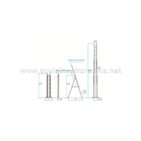 Scala in vetroresina multiuso 3 rampe 11 gradini