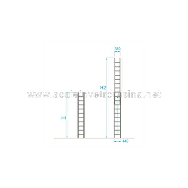 Scala in vetroresina con fune 2 rampe 20 gradini